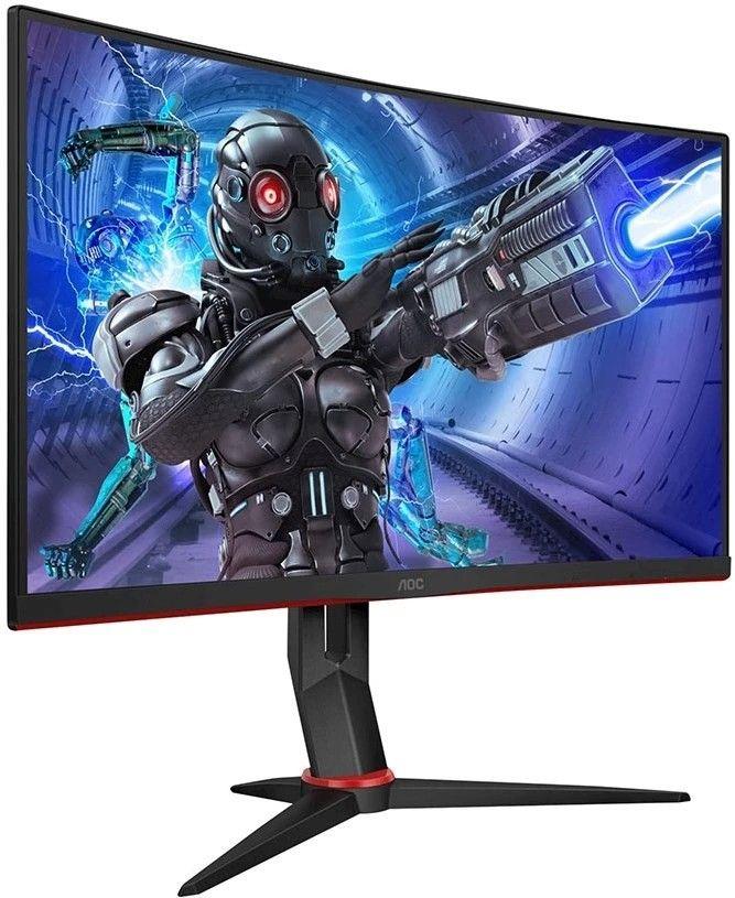 Bild på den prisvärda gamingskärmen AOC C27G2ZU ovanfrån. Detta är vårt val av bästa gamingskärm med FHD-upplösning. En billig skärm för sin specifikation och perfekt för FPS-spel.