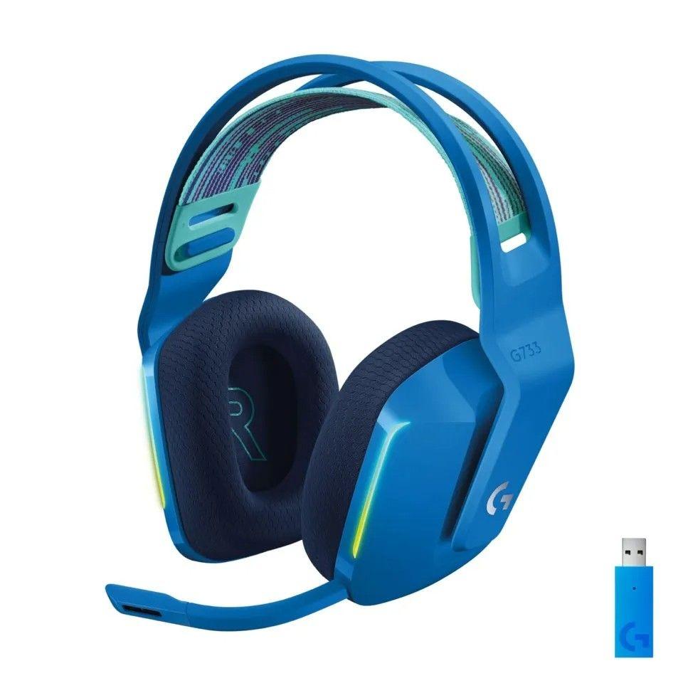 Blåa färgen på Logitech G733 som är bäst i test av gamingheadset mellanklass 2021.