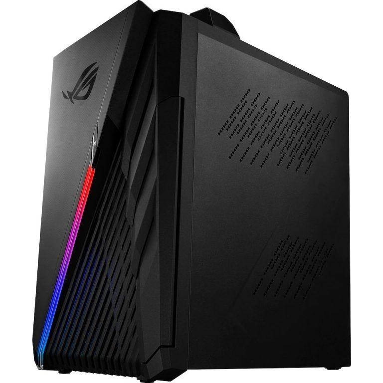 Bild på ASUS ROG Strix G35 från sidan. En snygg och kaxig gamingdator som är fylld med starka komponenter. Vårt val av bästa gamingdator i klassen high-end 2021. Levererar spel i 4K.