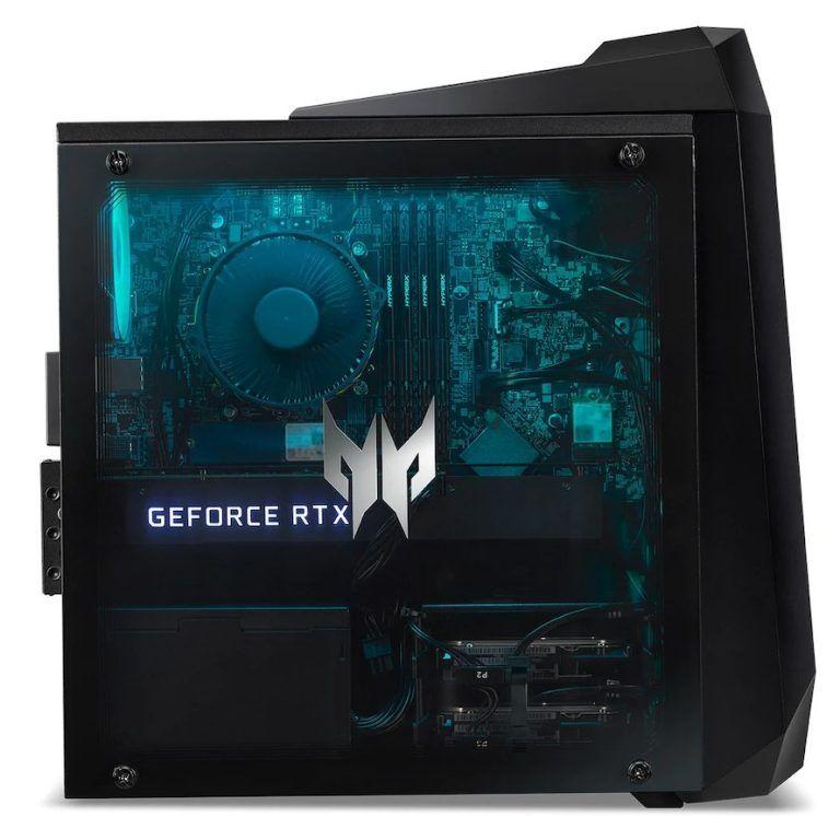 Speldatorn Acer Predator Orion 3000 från sidan. En dator som passar gamern som vill spela i QHD och FHD med hög grafikinställning och hög FPS. Mycket dator för pengarna och vinnare i vårt bäst i test av speldatorer i mellanklassen 2021.