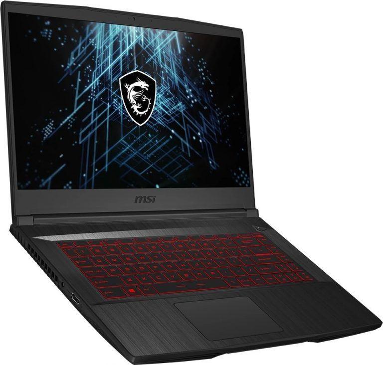 Den prisvärda gaming laptopen MSI GF65 Thin från sidan. Denna spellaptop mixar pris och prestanda på ett exceptionellt sätt.