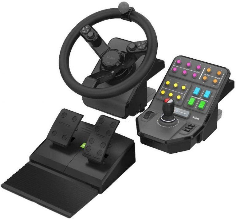 Logitech Saitek Farm Simulator Bundle är det bästa valet för simulatorer som Euro Truck Simulator och Farming Simulator. En ratt, pedaler och en mittkonsol med massor av knappar som styr lastbilen, grävmaskiner, traktorn m.m.