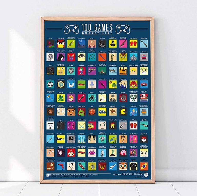 100 spel bucket list tavla som passar utmärkt som inredning för ett gamingrum. Detta är även en uppskattad julklapp och present till en gamer.
