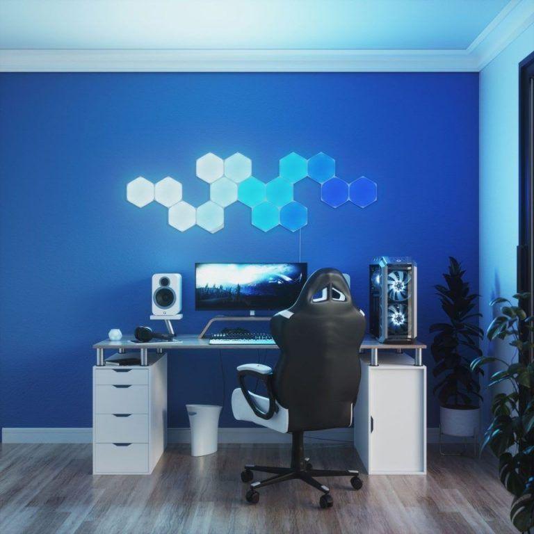 Bild på Nanoleaf Shapes Hexagons, flexibla och riktigt snygga ljusplattor i olika former. Otroligt läcka och perfekt som inredning i ett gamingrum.