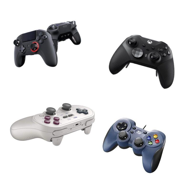 Bild på några av de bästa handkontrollerna för PC 2021. Bäst i test hos oss på gamingtutrustning.se
