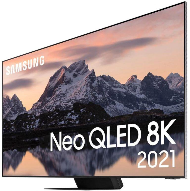 Samsung QN800A Neo QLED 8K Smart TV från sidan, en TV som är bra på allt och en suveränt val för gaming. Bäst i test 2021 i premiumklass och toppkvalité.