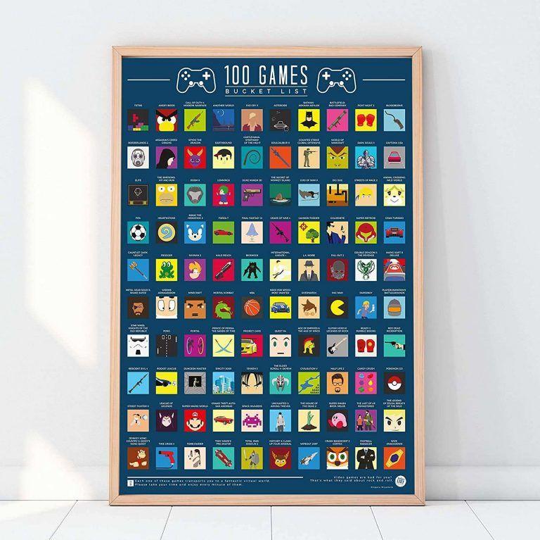 100 spel bucket list skraptavla är en rolig och engagerande julklapp att ge till någon som gillar gaming.