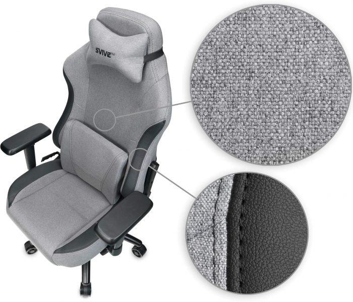 Närbild på tyget Svive Gemini, högkvalitativt och skönt att sitta på. Stolen är bästa spelstol i tyg 2021.