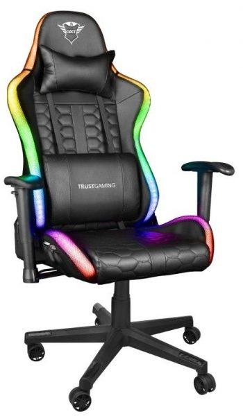 Trust Gaming GXT 716 Rizza är en häftig gamingstol med RGB LED-belysning som lyser i massor av olika färger. Otroligt läckert i ett mörkt rum. Dessutom har stolen bra ergonomiska funktioner och är bekväm att använda.v Bästa gamingstol med LED 2021.